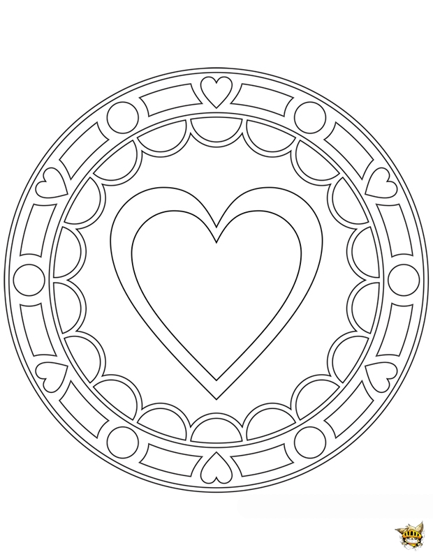 Coloriage gros coeur mandala sur - Mandala coeur imprimer gratuitement ...