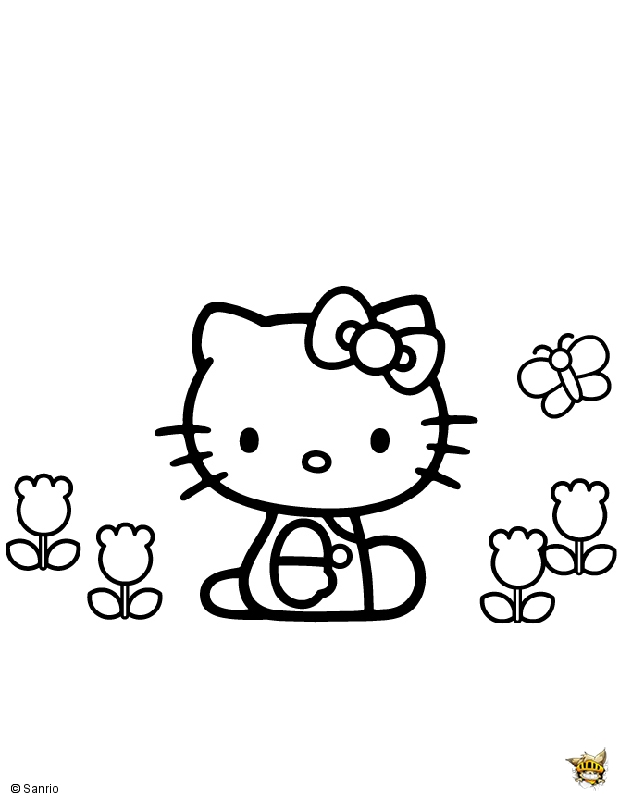 Coloriage Fleur Hello Kitty.Hello Kitty Fleurs Papillon Est Un Coloriage De Hello Kitty
