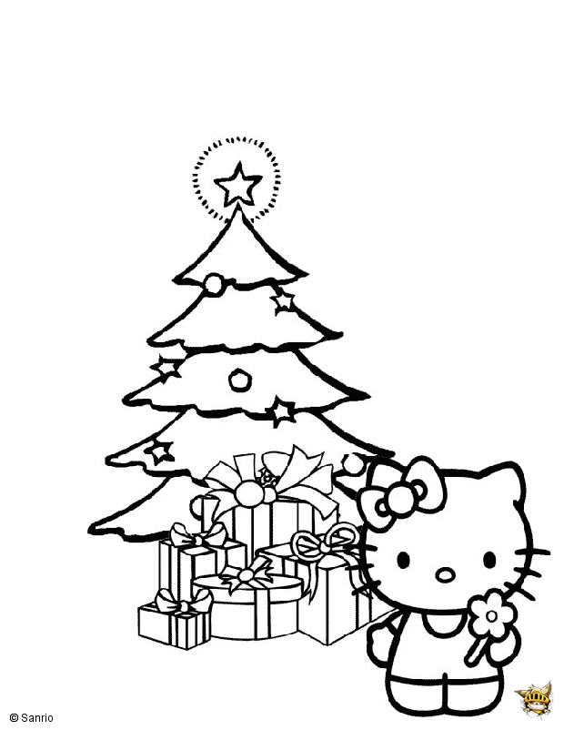 Hello kitty sous le sapin est un coloriage de hello kitty - Hello kitty jeux coloriage ...