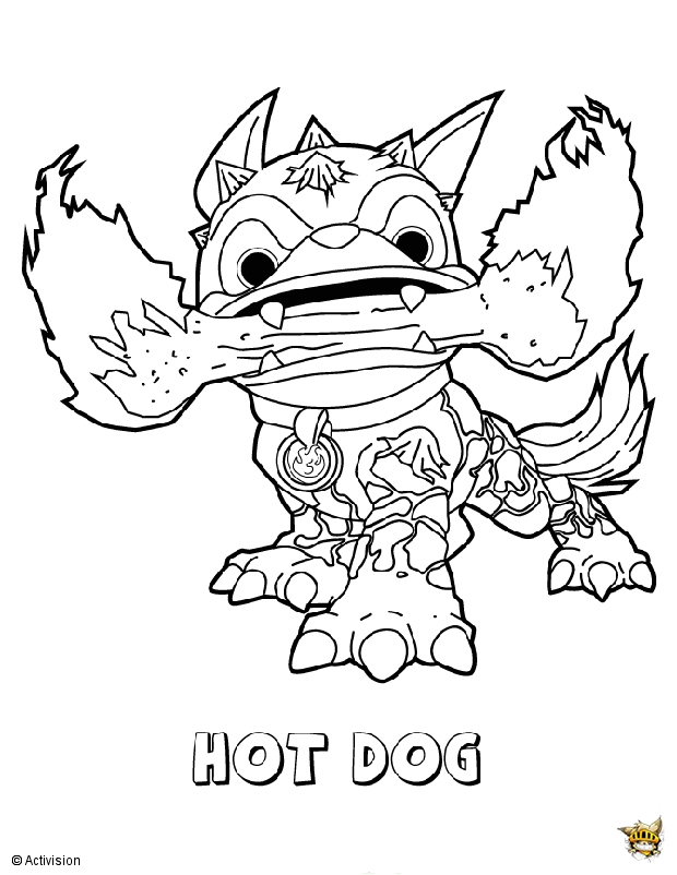 hot dog est un coloriage de skylanders. Black Bedroom Furniture Sets. Home Design Ideas