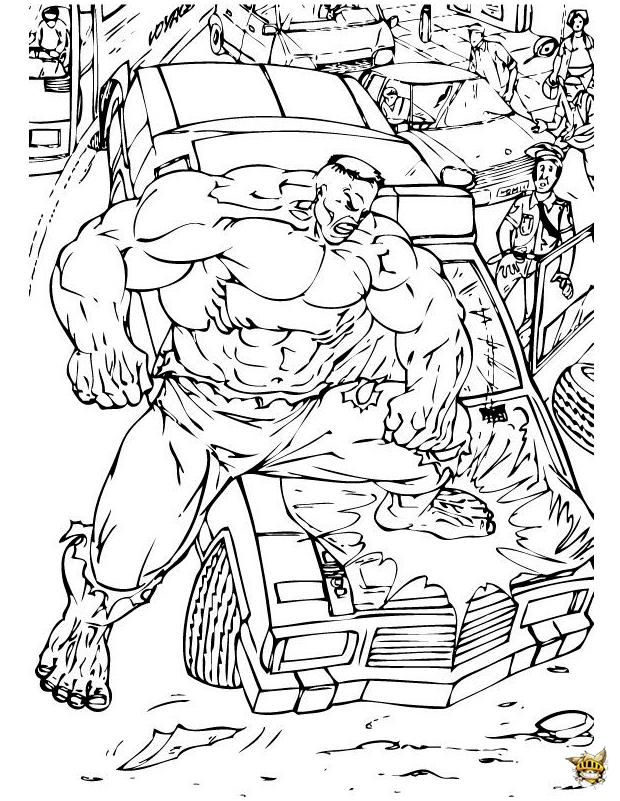 Hulk Defonce Une Voiture Est Un Coloriage De Hulk