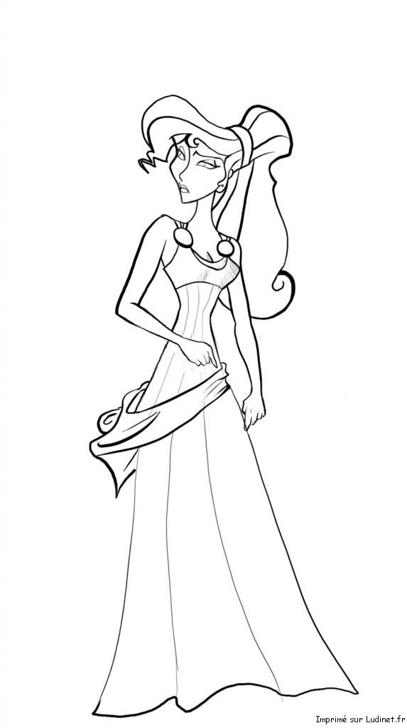 La jolie Megara est un coloriage de Hercule
