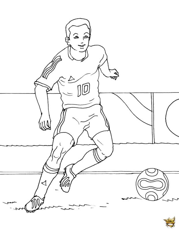 Coloriage Match De Football.Coloriage Joueur De Foot D Un Match A Imprimer