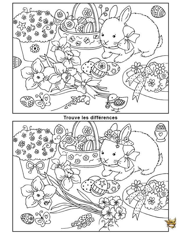 Journ e de p ques est un jeu imprimer de diff rences - Jeux de coloriage de paques ...