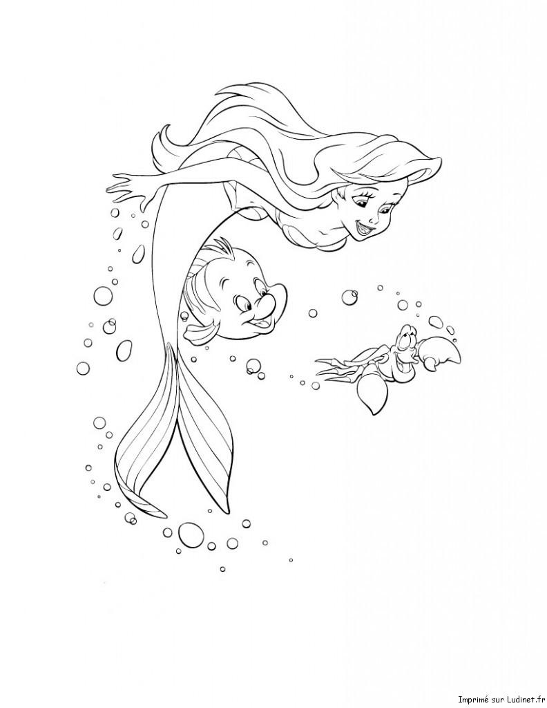 Coloriage Queue De Sirene.La Jolie Petite Sirene Est Un Coloriage De La Petite Sirene