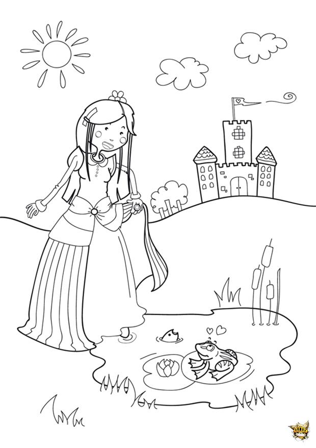 La princesse le crapaud est un coloriage de princesse - Coloriage de crapaud ...