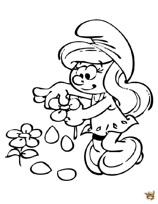 La schtroumpfette est un coloriage de schtroumpfs - Coloriage stroumpf ...
