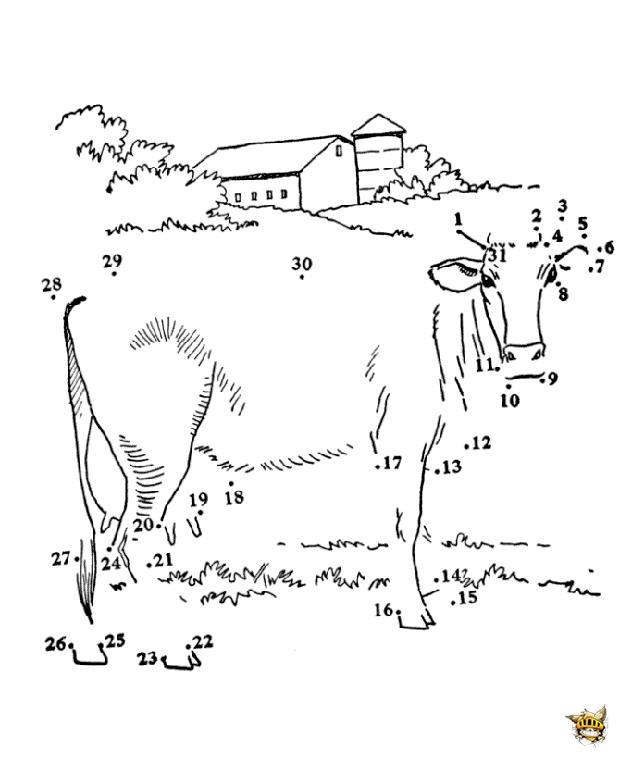 La vache est un points relier imprimer - Point a relier adulte a imprimer ...