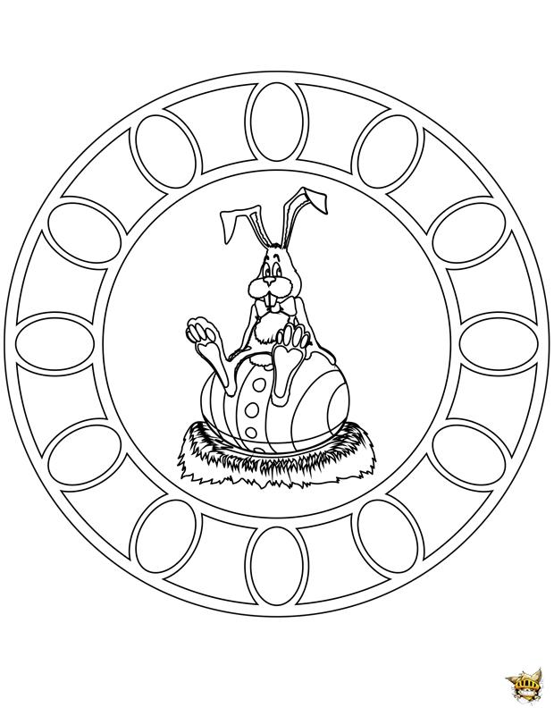Coloriage lapin de garde mandala sur - Mandala lapin ...