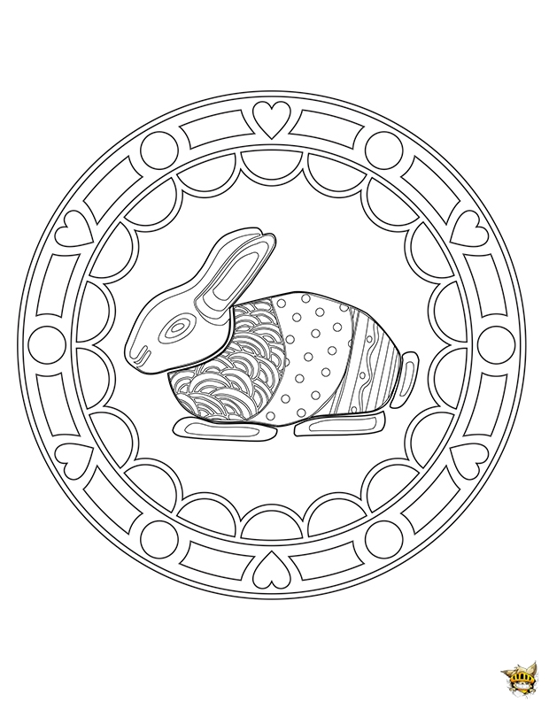 Atractivo coloriage mandala lapins composici n ideas - Mandala lapin ...