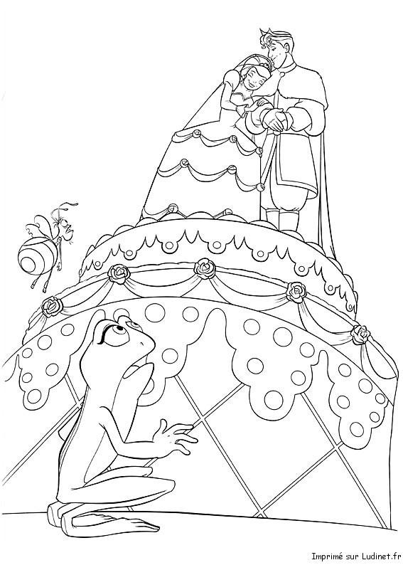 Coloriage Princesse Mariage.La Gateau De Mariage Est Un Coloriage De La Princesse Et La