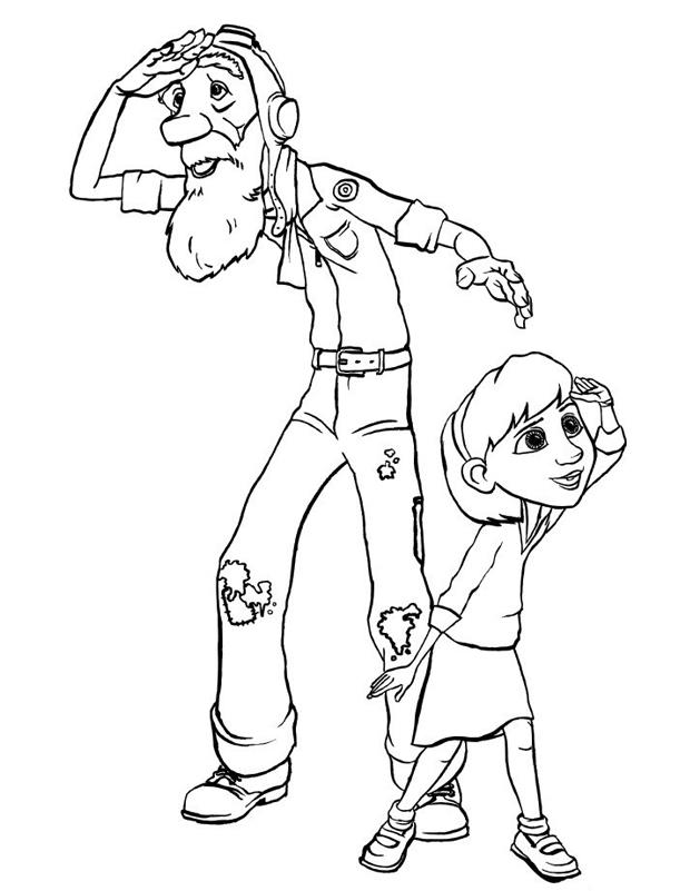Le grand p re et la petite est un coloriage du petit prince imprimer - Le grand schtroumpf et la schtroumpfette ...
