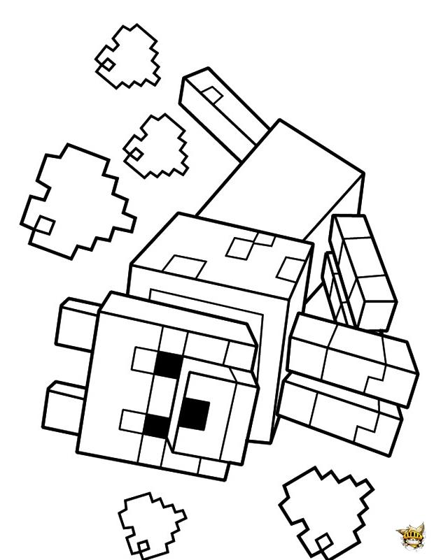 Le Loup Est Un Coloriage De Jeu Video De Minecraft