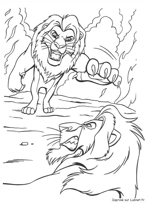 simba vs scar est un coloriage du roi lion - Le Roi Lion Coloriage