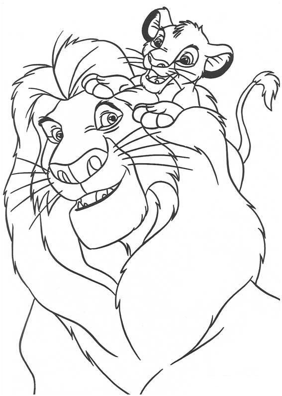 Mufasa et simba est un coloriage du roi lion - Simba coloriage ...