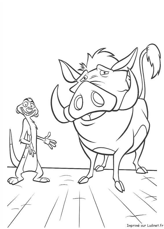 Timon Présente Pumbaa Est Un Coloriage Du Roi Lion