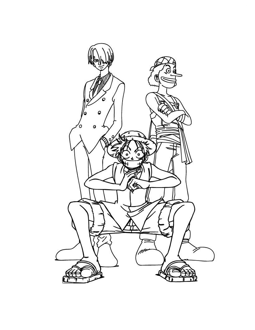 Luffy sanji et usopp est un coloriage de one piece - Dessin a colorier one piece ...