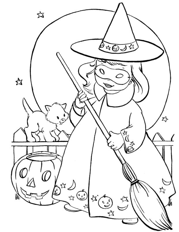 Mini Sorciere Est Un Coloriage D Halloween