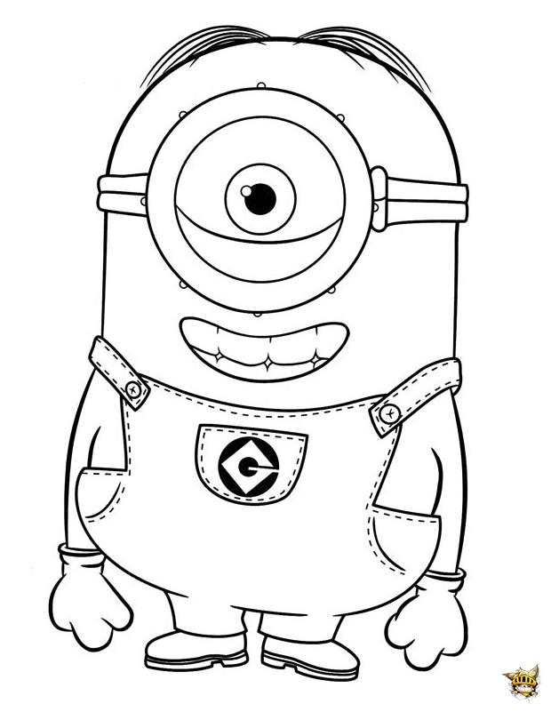 Stuart est un coloriage de minions - Oeil a colorier ...