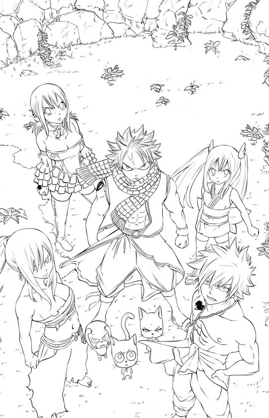 Natsu et ses amis est un coloriage de fairy tail for Fairy tail coloring pages anime