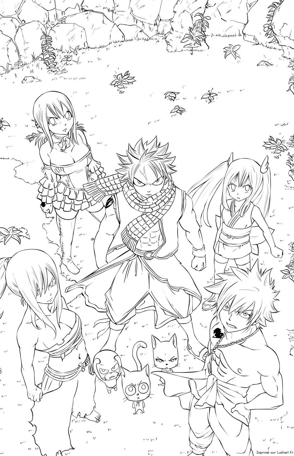 Natsu et ses amis est un coloriage de fairy tail - Dessin fairy tail ...