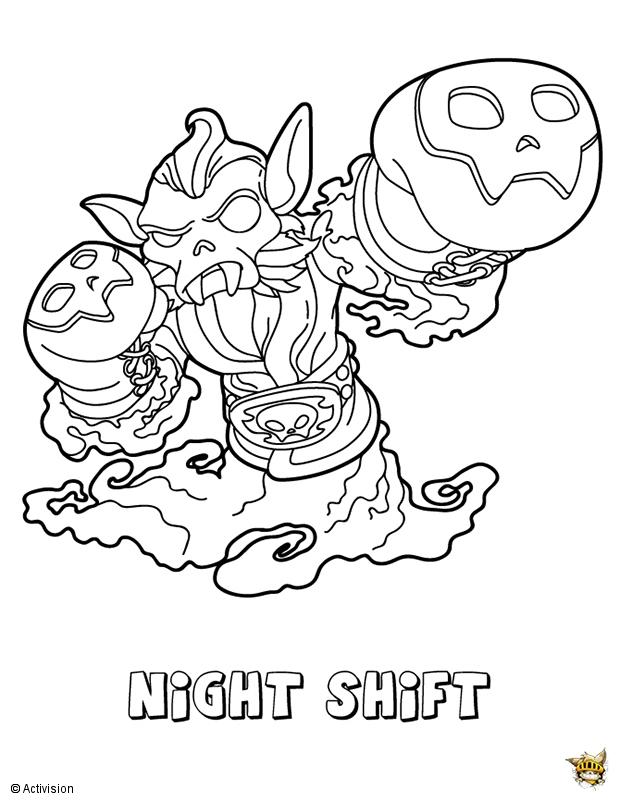 Night shift est un coloriage de skylanders for Skylanders imaginators coloring pages