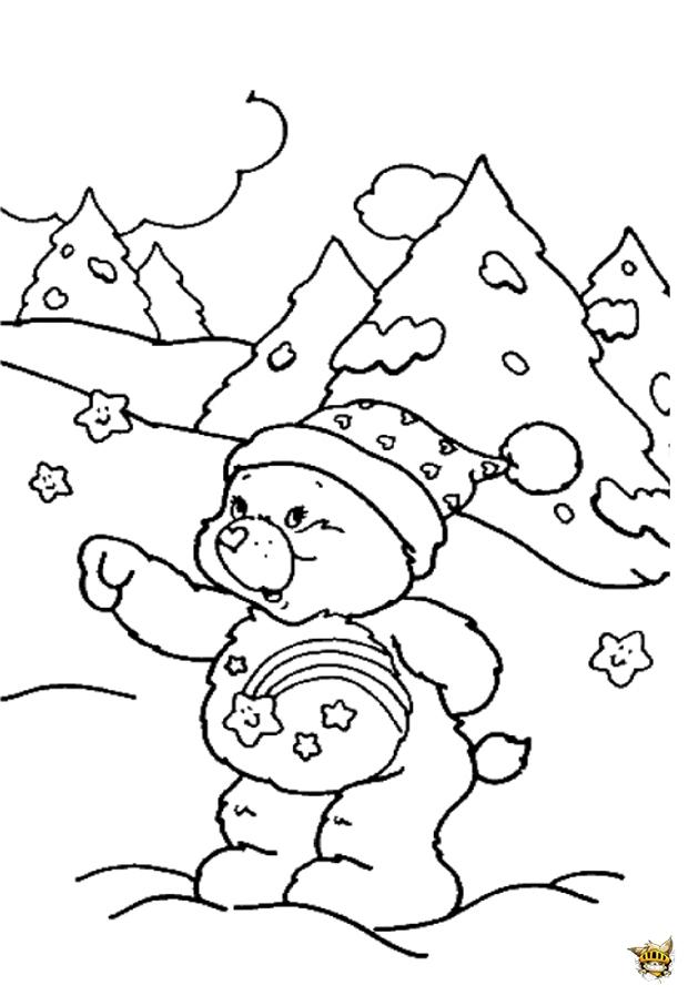 Animaux Coloriage Ourson.Ourson Sous La Neige Est Un Coloriage Des Animaux De Noel