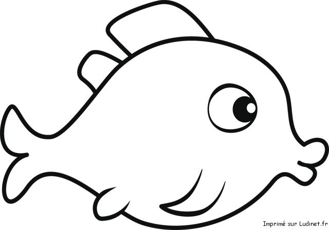 Coloriage poisson d'avril : poisson bouche