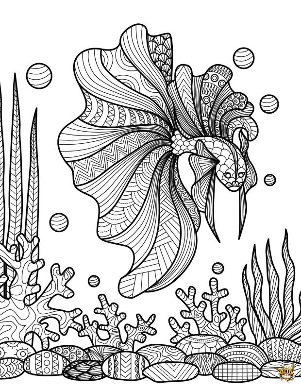 Coloriage Poisson Sur Corail Pour Adultes