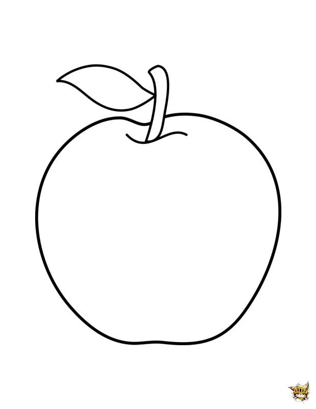Pomme est un coloriage imprimer d 39 aliments - Dessin pomme a colorier ...