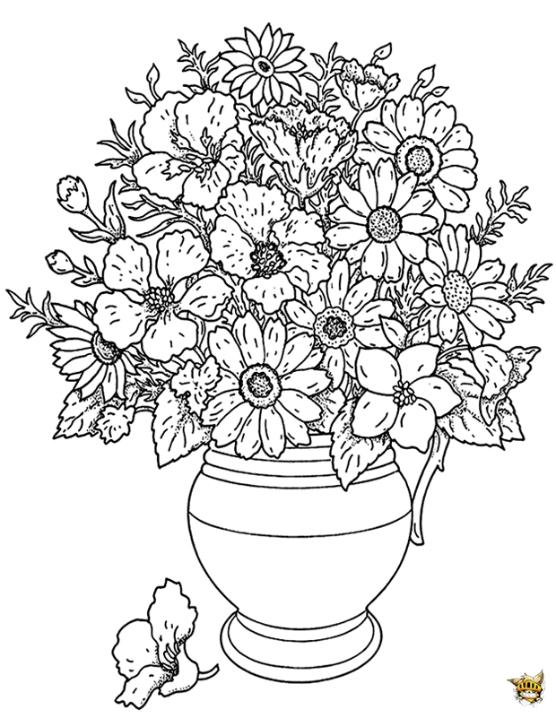 Coloriage Fleur Pot.Coloriage Pot De Fleurs Pour Adultes