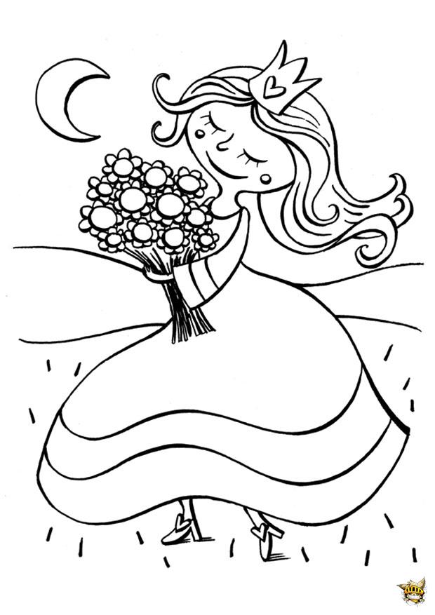 princesse cueille un bouquet est un coloriage de princesse. Black Bedroom Furniture Sets. Home Design Ideas