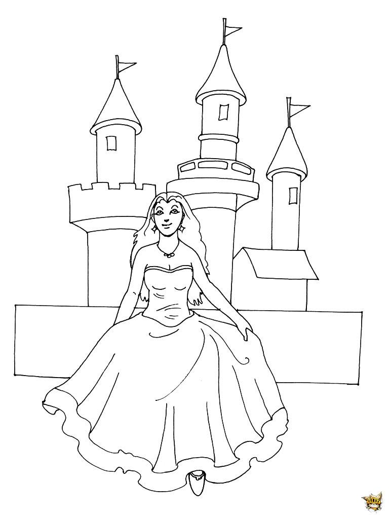 Princesse devant le ch teau est un coloriage de princesse for Image chateau princesse