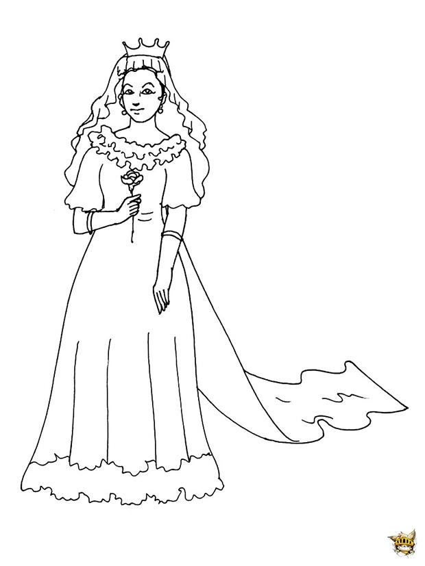 Coloriage Princesse Robe Mariee.Princesse Robe De Mariee Est Un Coloriage De Princesse