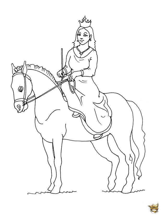 Princesse sur le cheval est un coloriage de princesse - Coloriages cheval ...