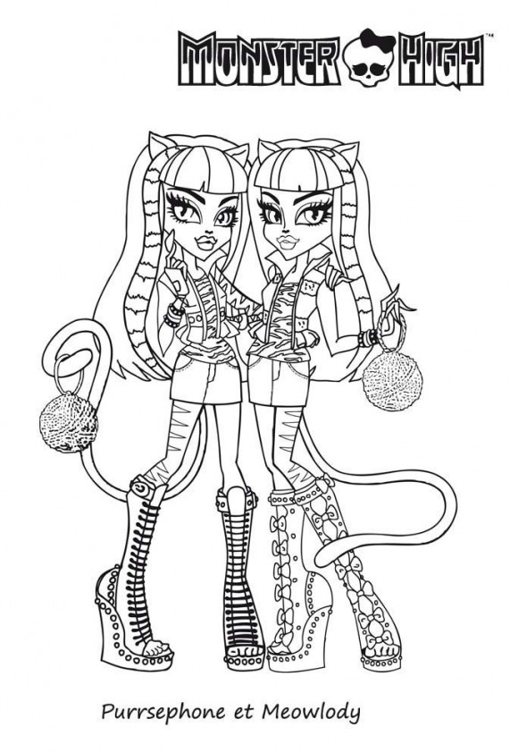Persephone et meowlody est un coloriage de monster high - Coloriage de monster ...