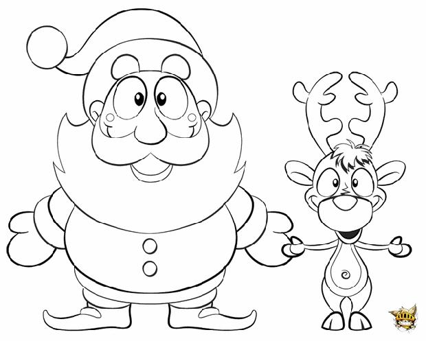 Renne et papa noel est un coloriage des animaux de noel for Santa coloring pages pdf
