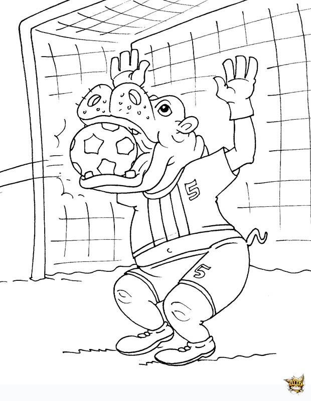 Coloriage Football Gardien.Coloriage Rhino Gardien De Football A Imprimer