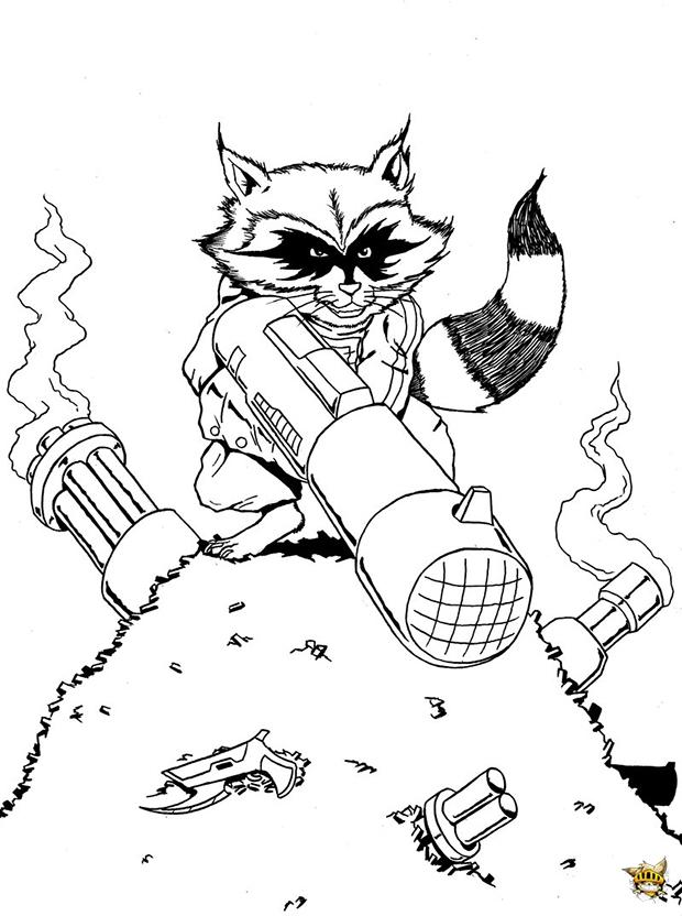 Rocket raccoon est un coloriage des gardiens de la galaxie - Coloriage raton laveur ...