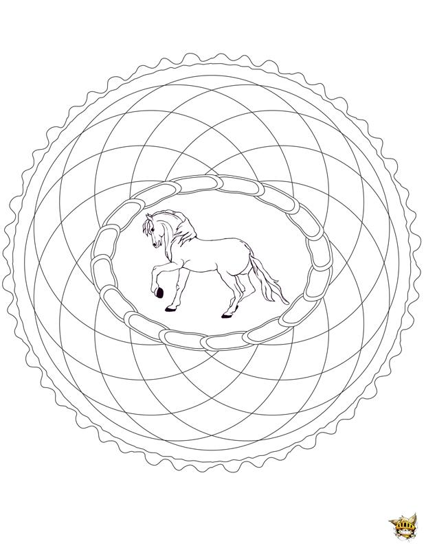 Coloriage rosace cheval mandala sur - Mandala de chevaux ...