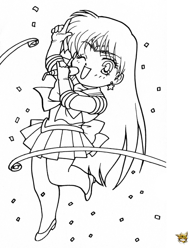 Sailor Mars Chante Est Un Coloriage De Sailor Moon