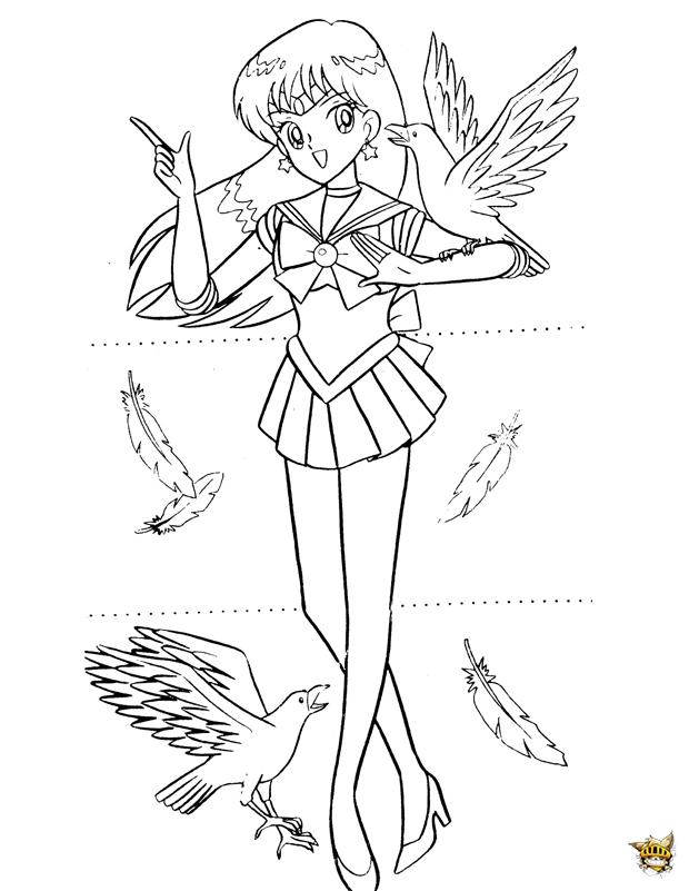 Sailor Mars Oiseaux Est Un Coloriage De Sailor Moon