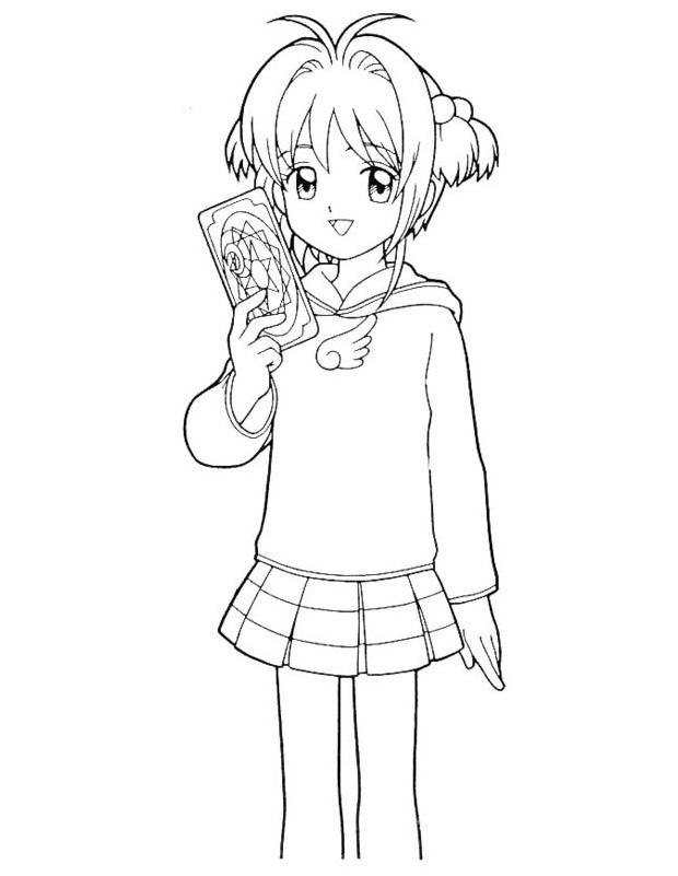 sakura cartes est un coloriage de sakura chasseuse de cartes