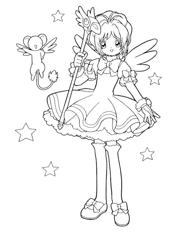 cardcaptor sakura coloring pages - sakura magie est un coloriage de sakura chasseuse de cartes