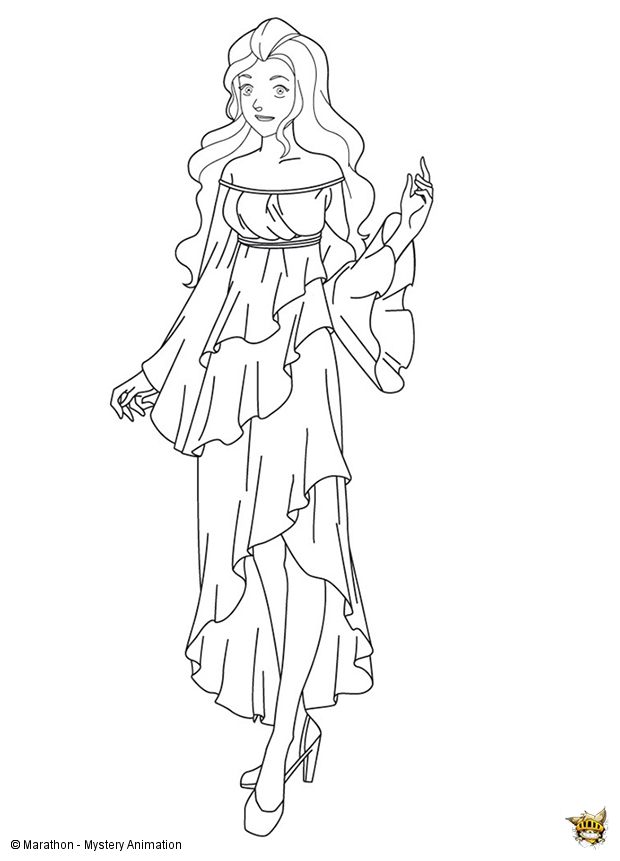 Sam en robe de mari e est un coloriage des totally spies - Totally spies coloriage ...