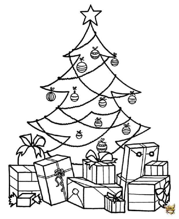 Sapin et cadeau est un coloriage de noel - Sapin avec cadeaux ...