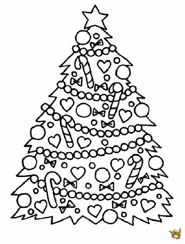 Sapin Et Decorations Est Un Coloriage De Noel