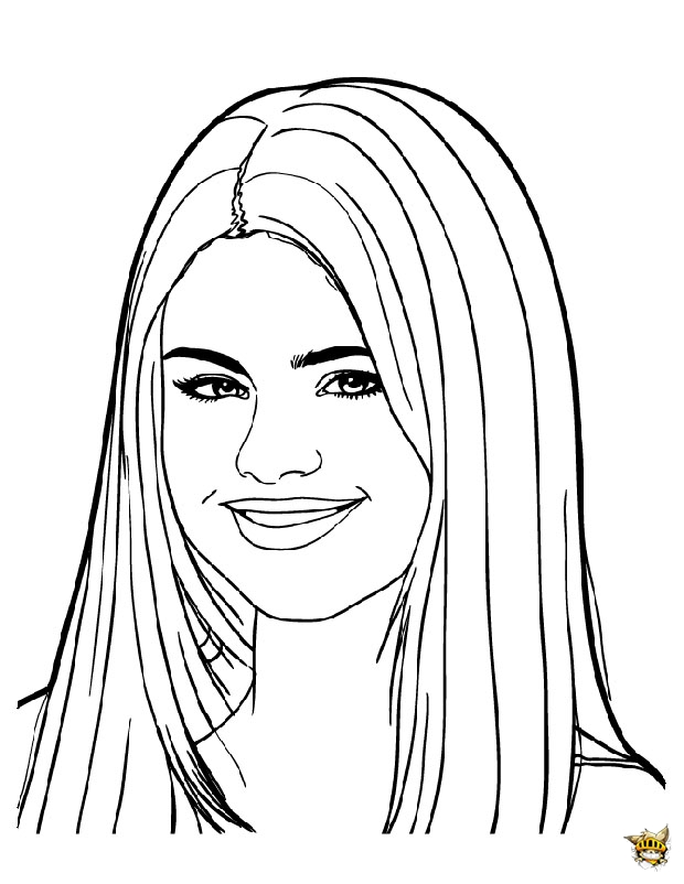 Portrait selena gomez est un coloriage de star - Selena gomez dessin ...