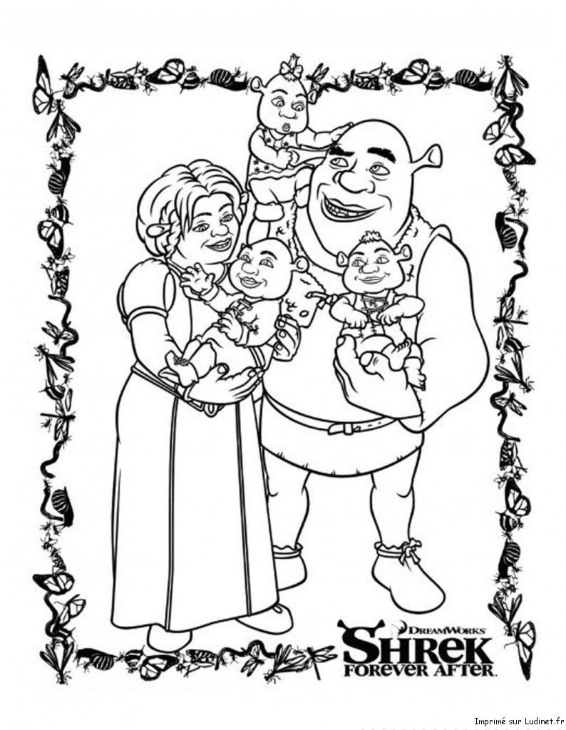 Shrek en famille est un coloriage de shrek - Coloriage shrek ...