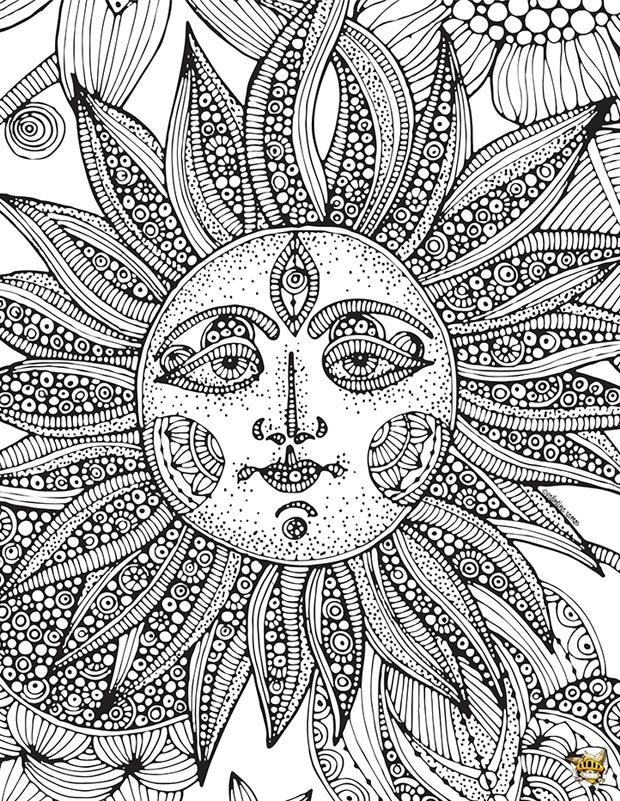 Coloriage Adulte Soleil.Coloriages Soleil Zen Pour Adultes